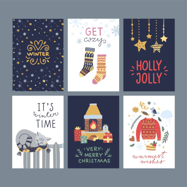 ilustrações de stock, clip art, desenhos animados e ícones de christmas and new year winter posters and greeting cards. happy holidays graphic set with lovely hygge lifestyle elements - hygge