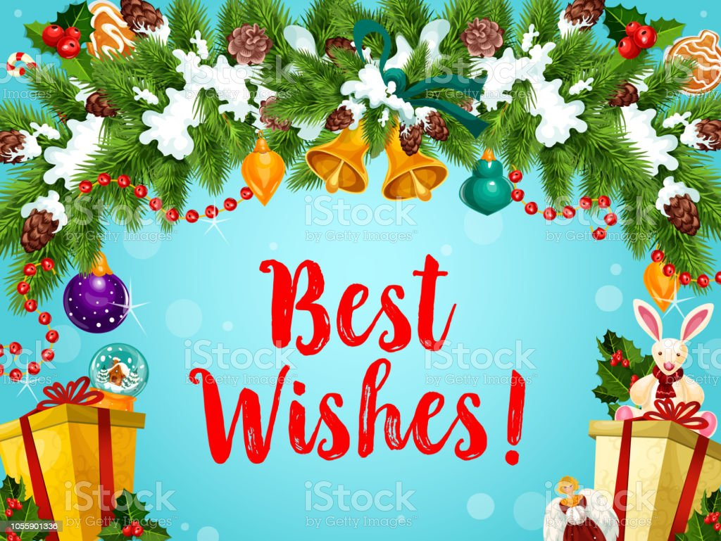 Christmas And New Year Wishes.Christmas And New Year Wishes Vector Stock Illustration