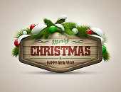 Vector realistic illustration of wooden christmas message board.