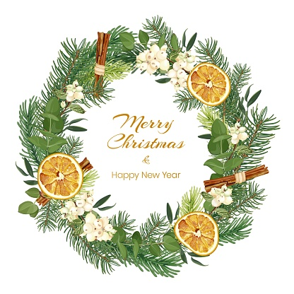 Christmas and New Year wreath with spruce branches, eucalyptus, snowberry, dried oranges and cinnamon. Holiday greeting card.