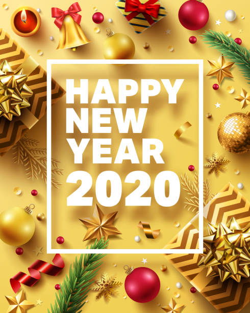 Christmas and New Years 2020 Golden Poster with golden gift box,ribbon and christmas decoration elements for Retail,Shopping or Christmas Promotion in golden style.Vector illustration EPS 10 vector art illustration