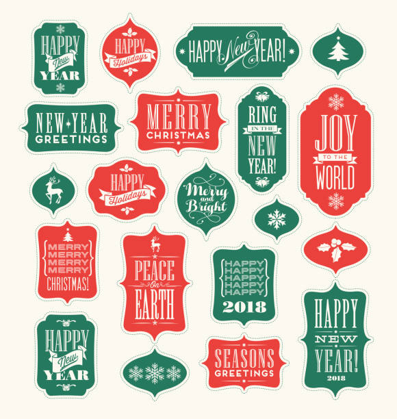 Christmas and New Years Holiday design elements for gift tags, greeting cards, banners. Vintage typography designs. – artystyczna grafika wektorowa