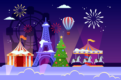 Christmas and New Years holiday in Paris. Vector flat illustration of Eiffel tower, Christmas tree and amusement park