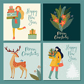 Christmas and New Year's posters or cards with text. Vector retro style illustration.