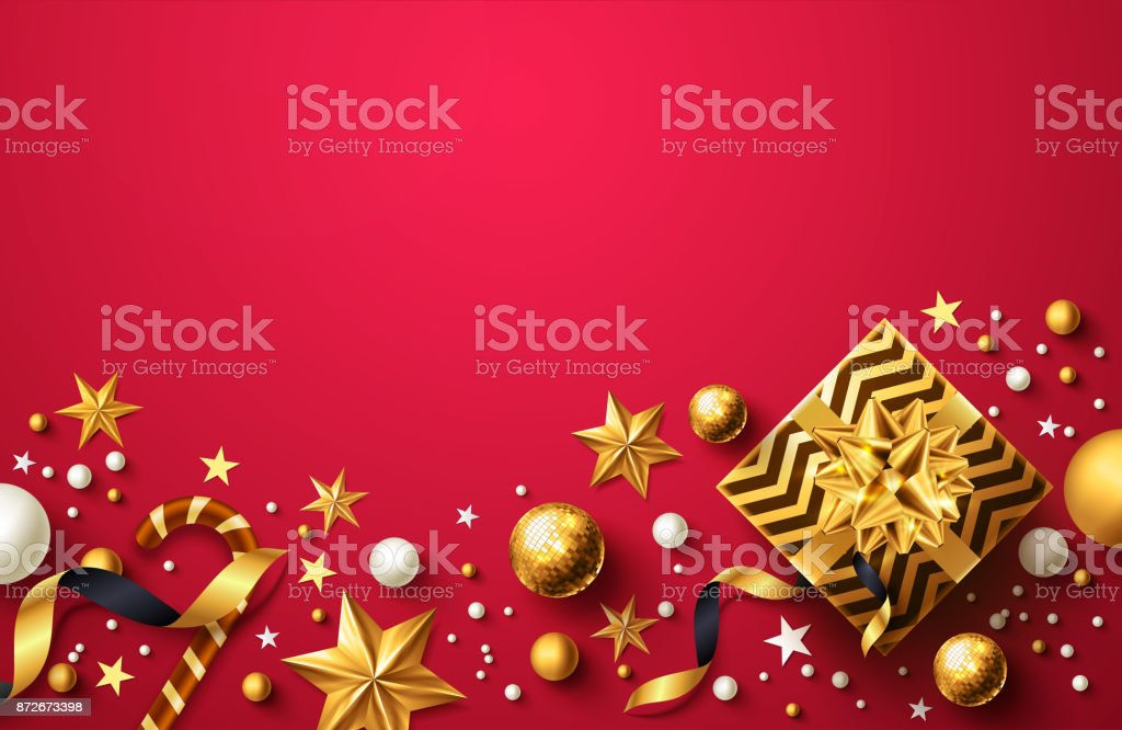 ゴールデン ギフト ボックス、リボン、クリスマス装飾の要素を持つ小売店、ショッピングやクリスマス昇進黄金と赤のスタイルでクリスマスと新しい年の赤背景 ベクターアートイラスト