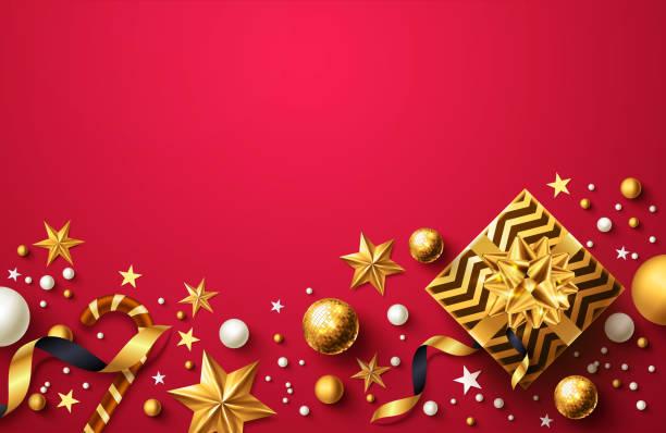 bildbanksillustrationer, clip art samt tecknat material och ikoner med jul och ny år röd bakgrund med gyllene present box, band och jul dekoration element för detaljhandel, shopping eller jul främjande i gyllene och röda stil - christmas decoration golden star