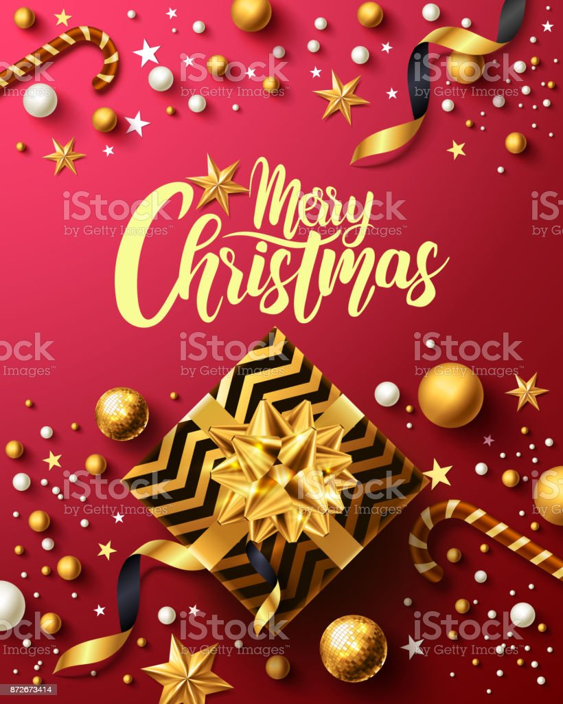 christmas and new years red poster with golden gift boxribbon and christmas decoration elements