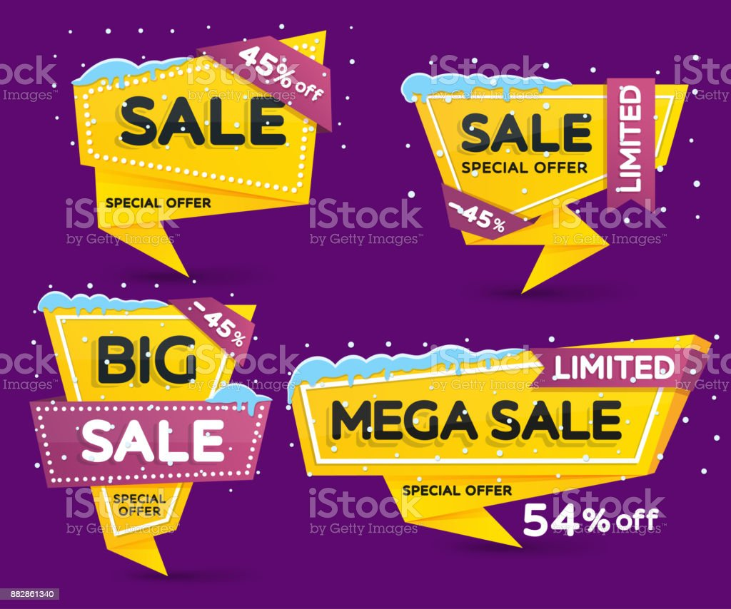 Christmas and New Year's sale. Discount and promotion banners. Set of yellow colored stickers and banners. vector art illustration