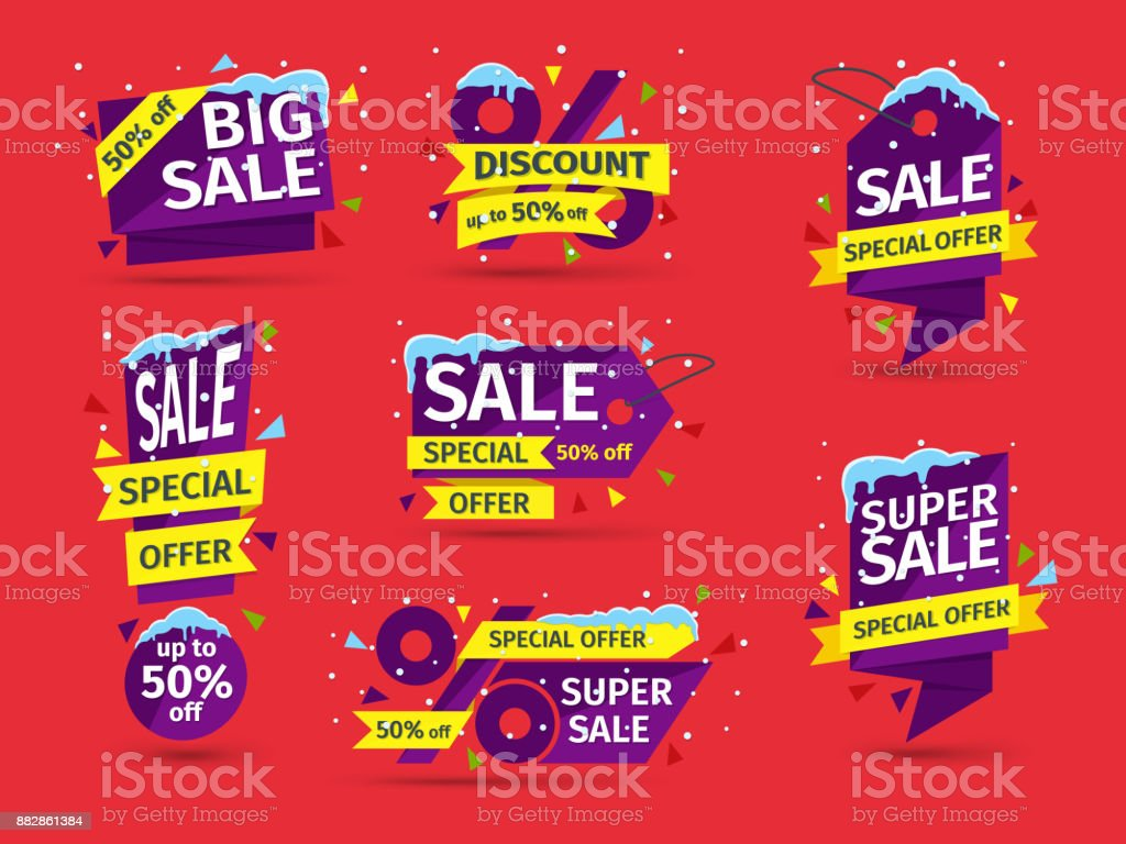 Christmas and New Year's sale. Set of blue colored stickers and banners. Sale tags with snow caps and icicles. vector art illustration