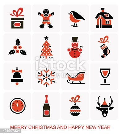 weihnachten und silvestersymbole symbole stock vektor art. Black Bedroom Furniture Sets. Home Design Ideas