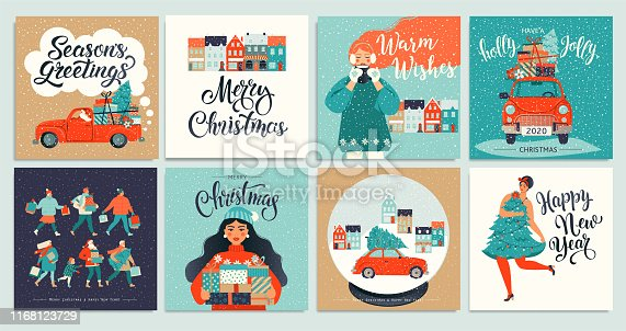 Christmas Posters set. Vector illustration.