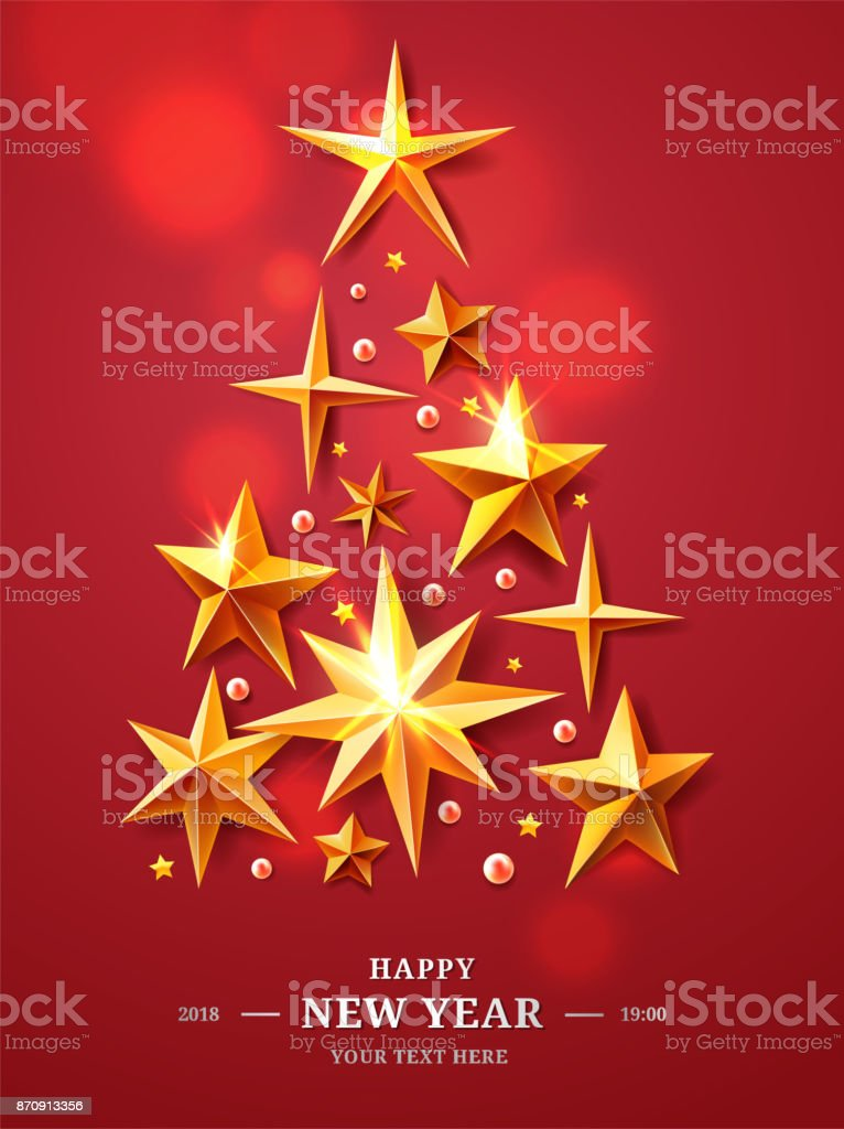 christmas and new years tree made of realistic cutout foil metal