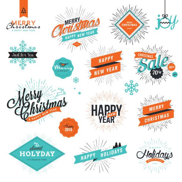 weihnachten und silvester-vintage-stil der beschilderung - firmenweihnachtsfeier stock-grafiken, -clipart, -cartoons und -symbole