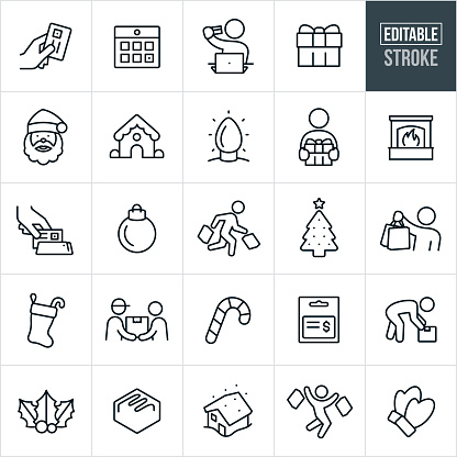 Christmas And Shopping Thin Line Icons - Editable Stroke
