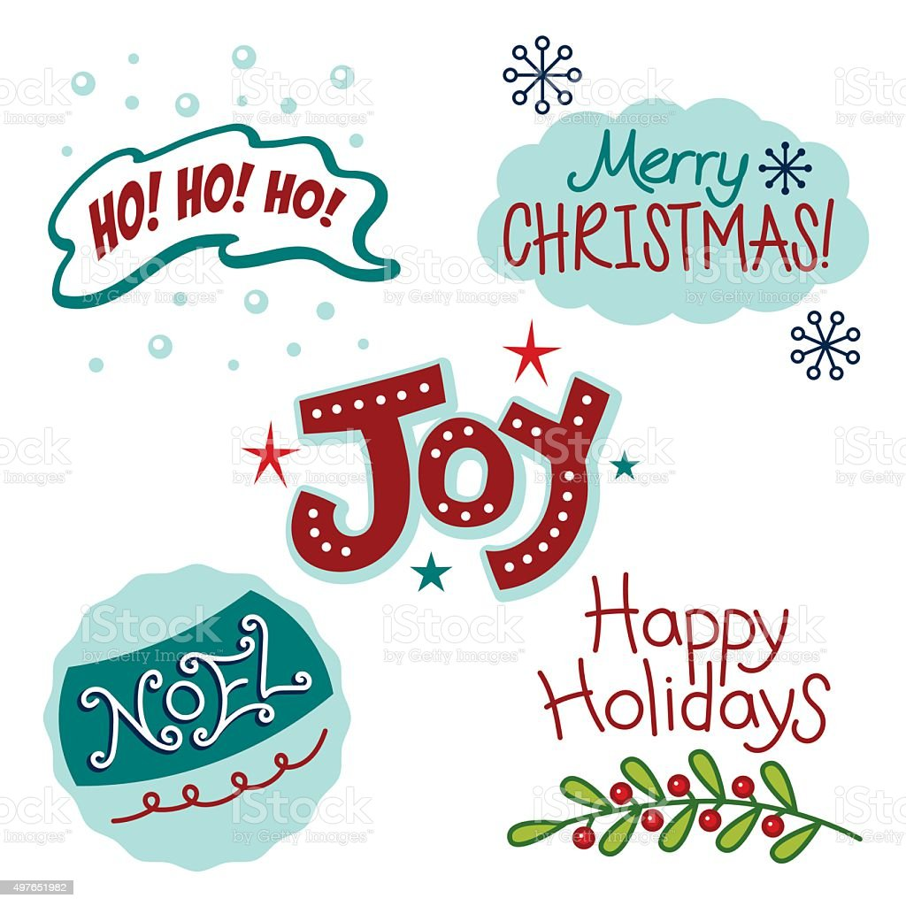 Christmas and winter holiday greetings, fun text, words vector art illustration