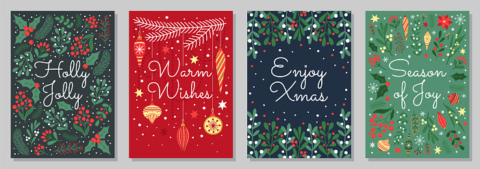 Christmas and winter holidays greeting cards.