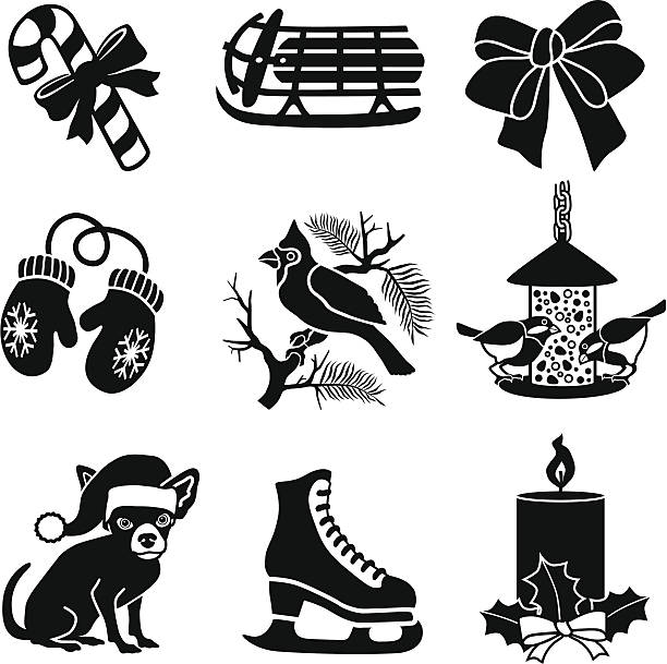 Christmas and winter icons vector art illustration