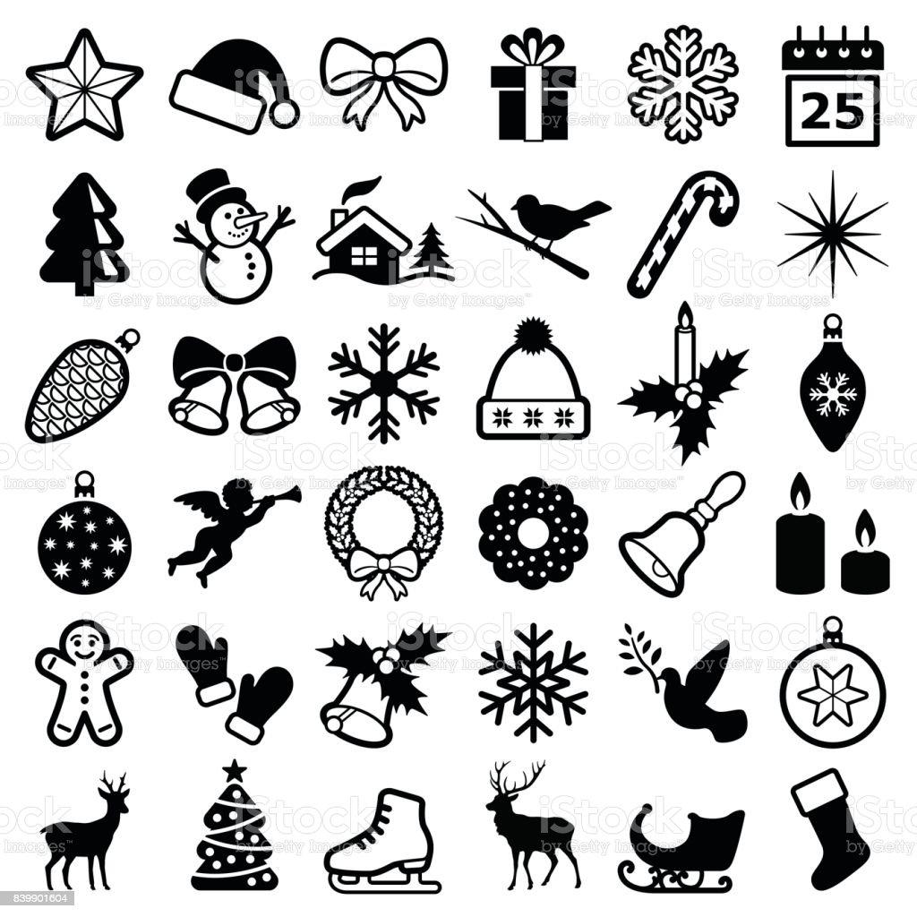 Iconos de Navidad e invierno - ilustración de arte vectorial