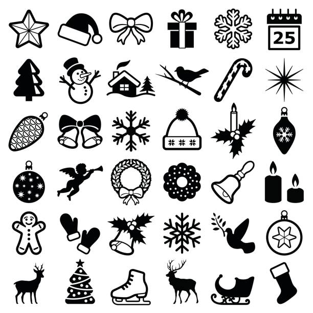 Christmas and winter icons Christmas and winter icon collection - vector silhouette mitten stock illustrations