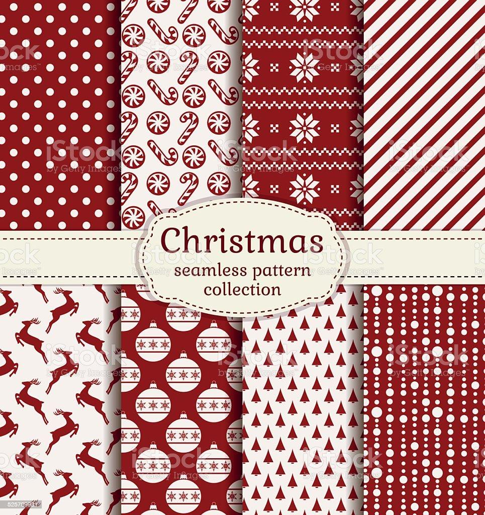 Christmas and winter seamless patterns. Vector set. vector art illustration