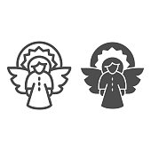 Christmas angel line and solid icon, Christmas concept, Fir tree decoration sign on white background, Angel with wings and halo icon in outline style for mobile and web design. Vector graphics
