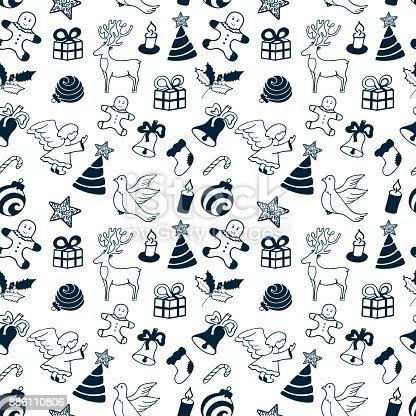 istock Christmas angel, mistletoe, gingerbread man, spruce holiday attributes. Seamless Pattern. 886110806