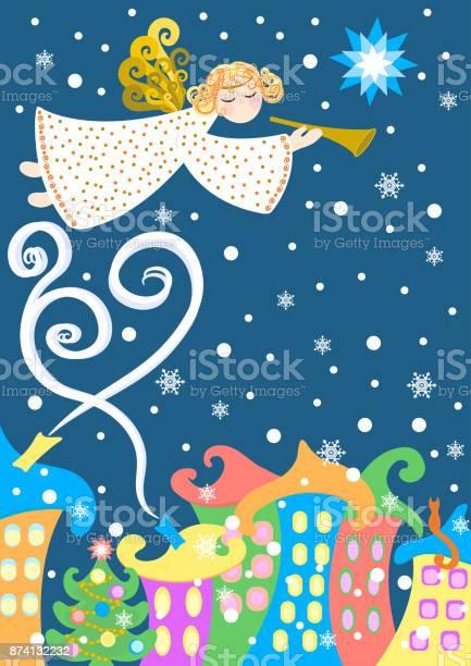 Christmas angel over the winter city card vector illustration vector id874132232?b=1&k=6&m=874132232&s=612x612&h=vl6 k oype9spde7v6asyuhojlg4vbykbfyy5sxicrk=