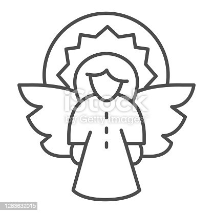 Christmas angel thin line icon, Christmas concept, Fir tree decoration sign on white background, Angel with wings and halo icon in outline style for mobile and web design. Vector graphics