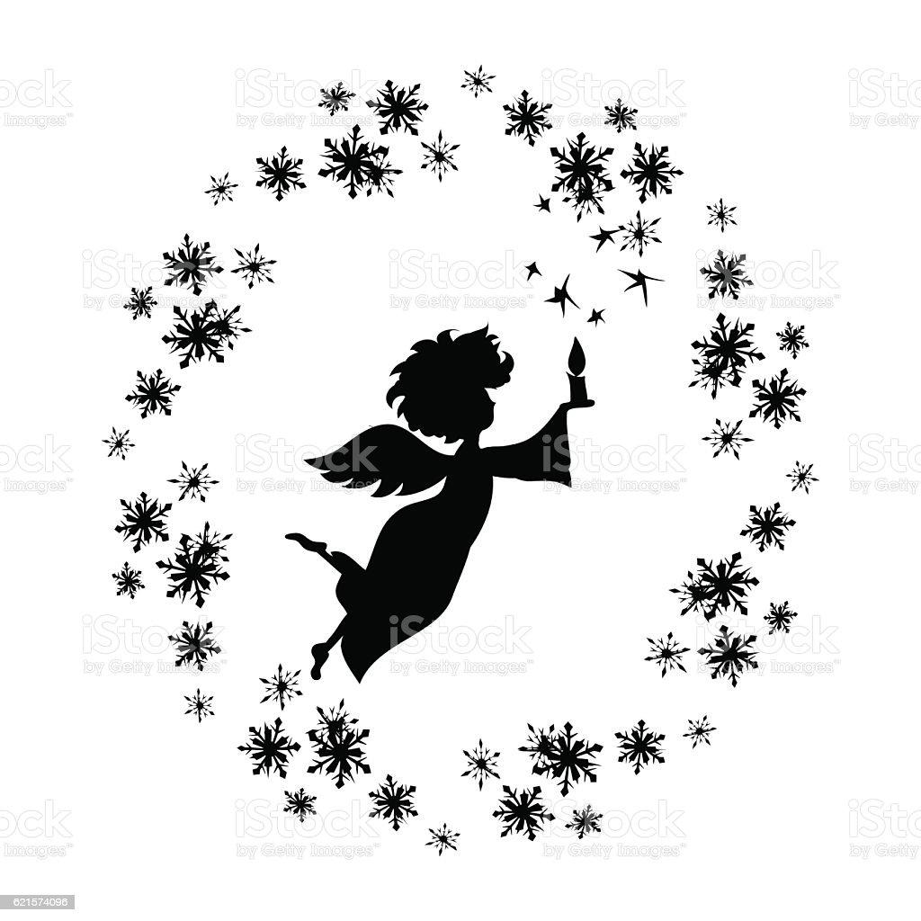 Christmas  Angel with candle in snowflakes frame decal christmas angel with candle in snowflakes frame decal – cliparts vectoriels et plus d'images de adolescent libre de droits