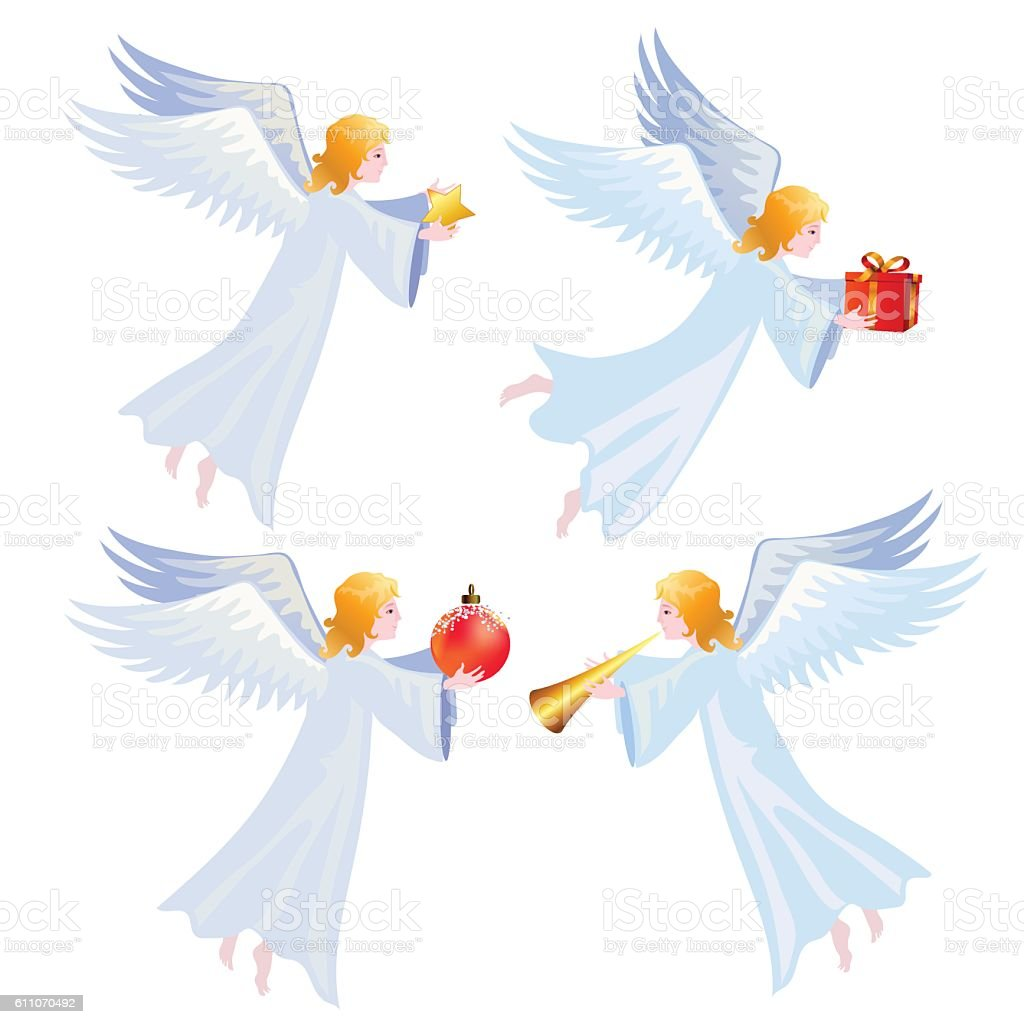 Christmas Angels Stock Vector Art & More Images of Angel 611070492 ...