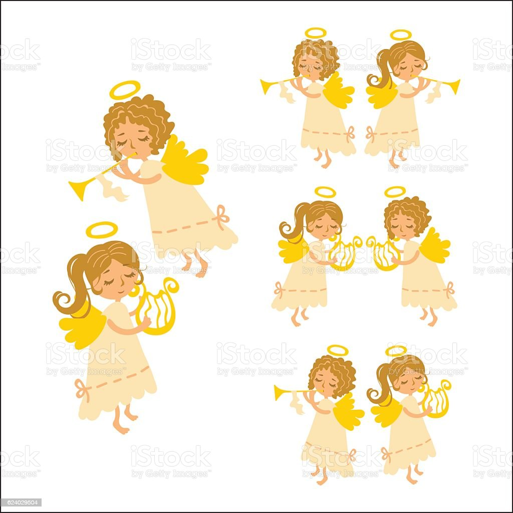 Christmas angels vector art illustration
