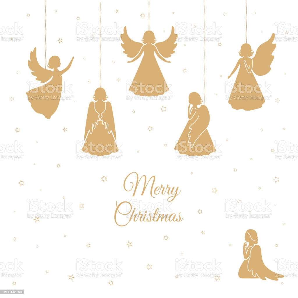 Christmas Angels With Wings Stock Vector Art & More Images of Angel ...