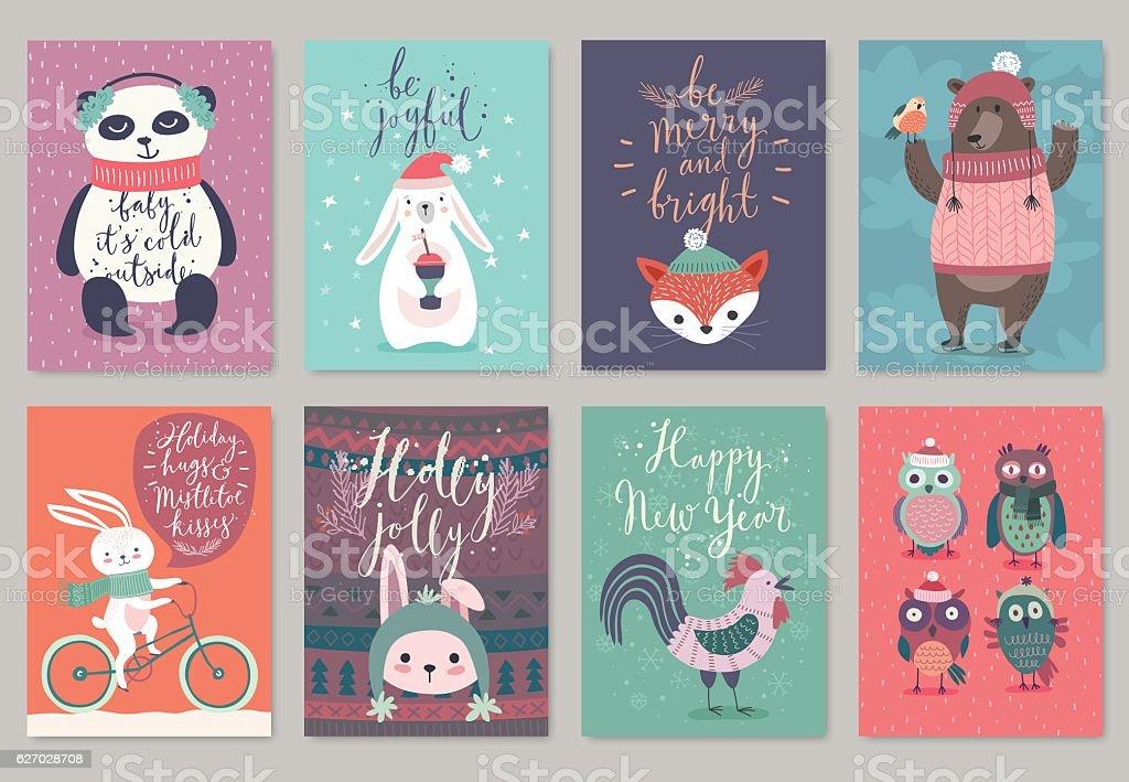 Christmas animals card set, hand drawn style.向量藝術插圖