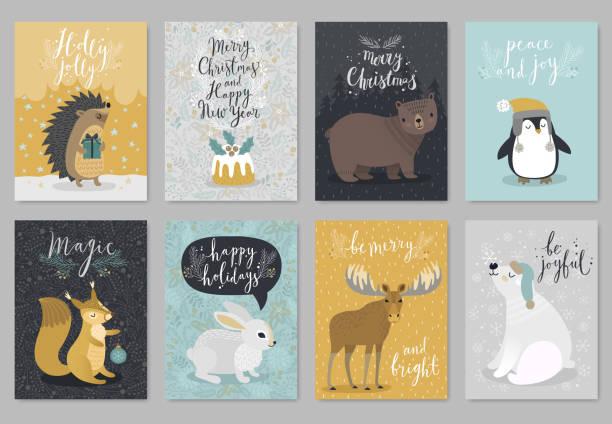 weihnachten tiere karte gesetzt, handgezeichneten stil. - igel stock-grafiken, -clipart, -cartoons und -symbole