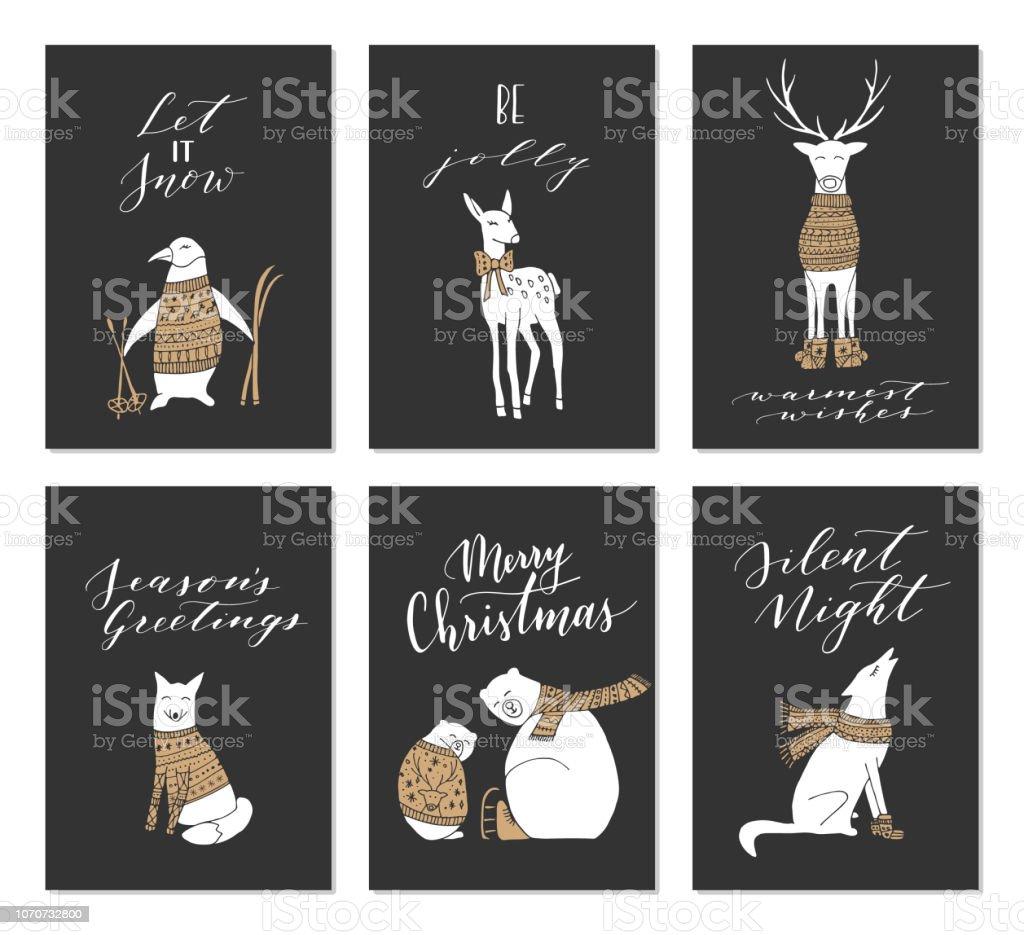 Weihnachtskarten Tiere.Weihnachtskarten Tiere Stock Vektor Art Und Mehr Bilder Von Bär