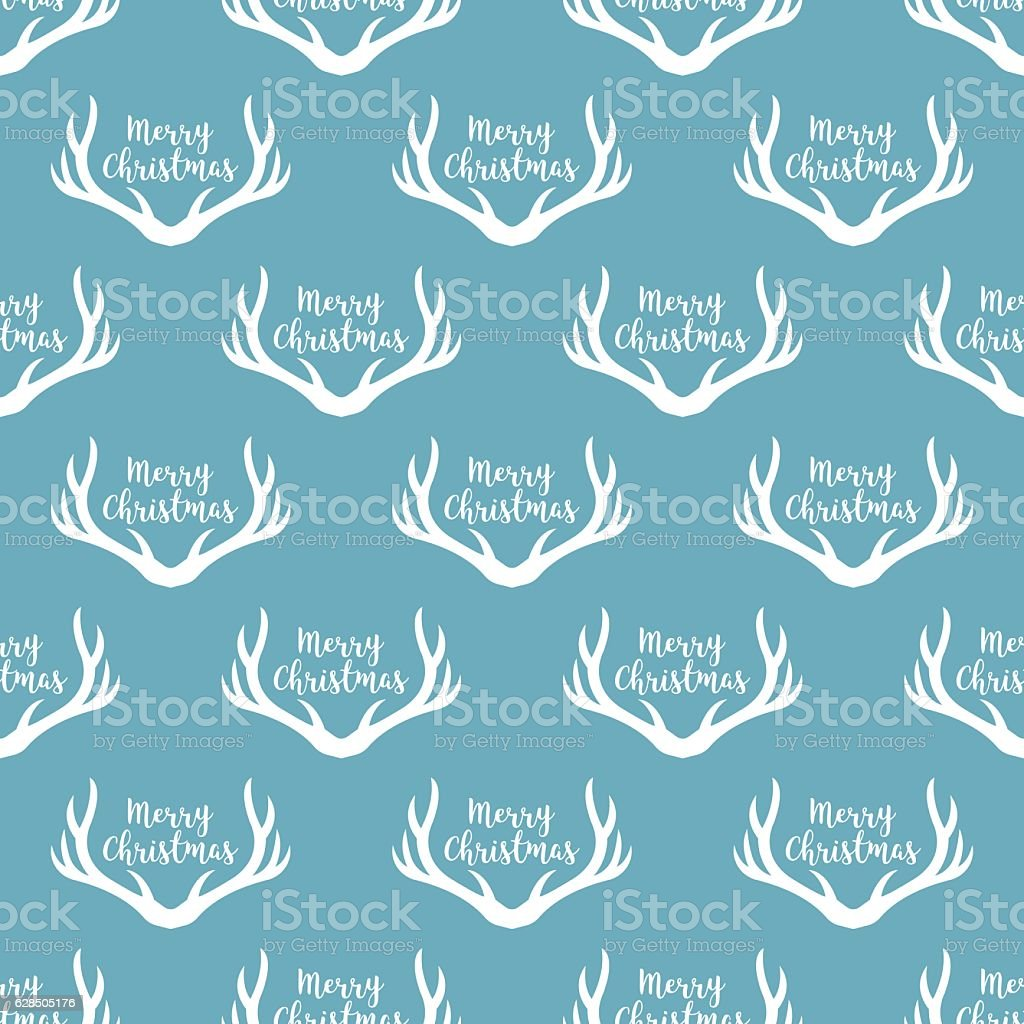 Christmas antlers silhouette seamless pattern. vector art illustration