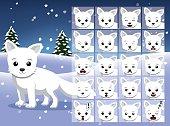 Christmas Arctic Fox Cartoon Emotion faces Vector Illustration