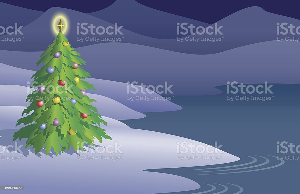 Christmas at Snowy Lake royalty-free stock vector art