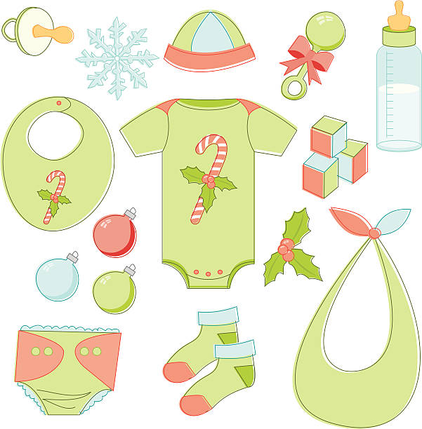 Christmas Baby Essentials Lots of baby items with a Christmas theme in a sketchy style. Download contains Illustrator CS2 ai, Illustrator 8.0 eps, and high-res jpeg. kathrynsk stock illustrations