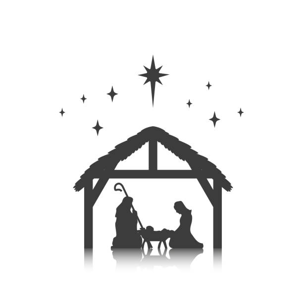 Christmas, baby Jesus in the manger with Mary and Joseph Christmas, baby Jesus in the manger with Mary and Joseph, vector nativity silhouette stock illustrations