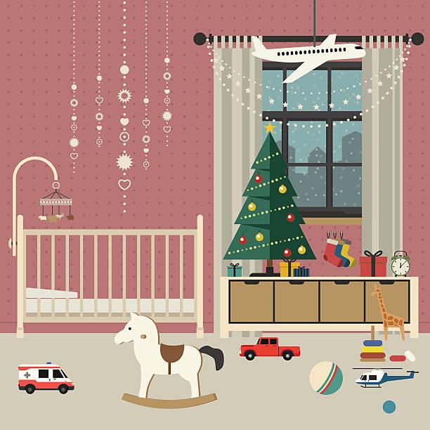 Christmas Room Stock Vector Image Of Illuminated: Royalty Free Christmas Crib Clip Art, Vector Images