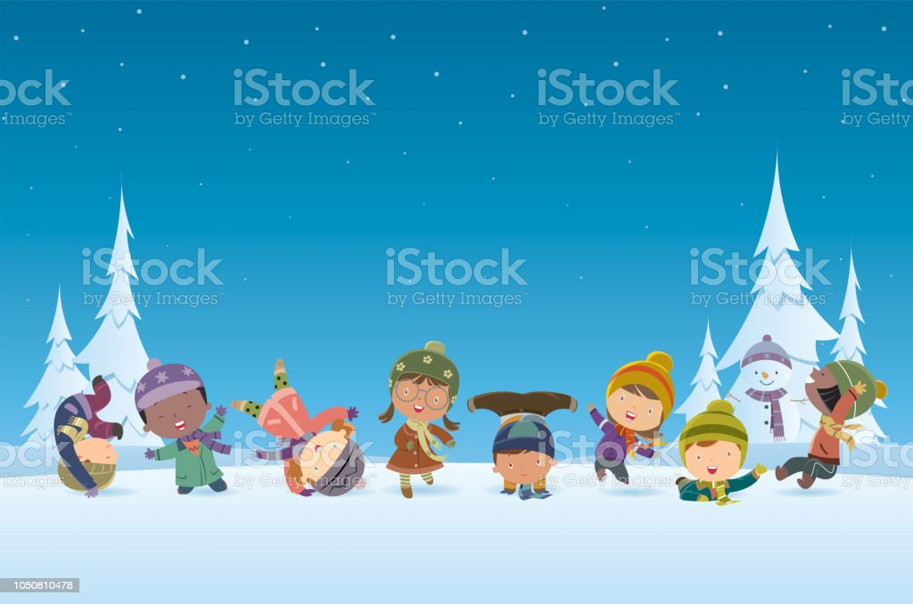 Christmas Background And Kids Stock Vector Art & More Images of 6-7 ...