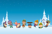 Vector Christmas Background and Kids