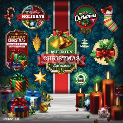 istock A Christmas background and label set 186655205