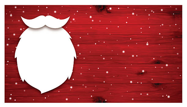 Christmas background [Beard of Santa Claus on the red board] vector art illustration