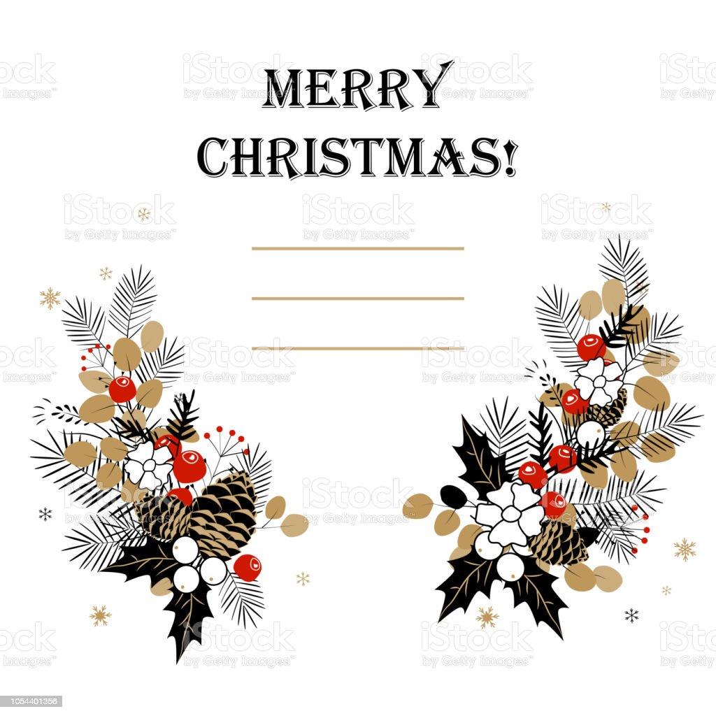 Jul bakgrund. Christmas stomme av fir löv och kottar vektorkonstillustration