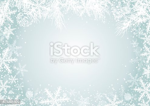 istock Christmas background concept design of white snowflake and pine leaves with copy space vector illustration 875301520