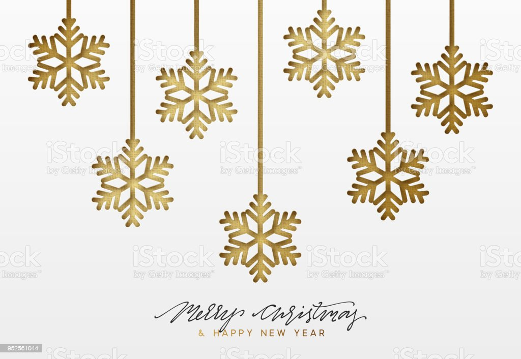 Christmas Background Design.Christmas Background Design Golden Snowflakes Texture Paper Stock Illustration Download Image Now