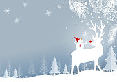 Christmas background design of reindeer and pine leaves with snowflake in the forest winter vector illustration