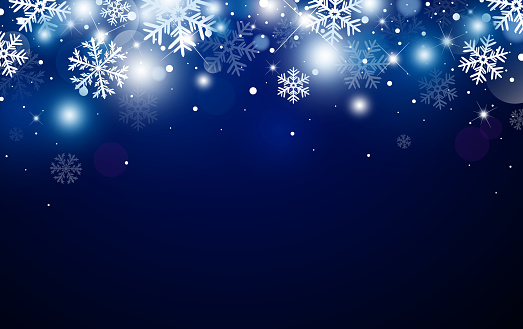 Christmas background design of snowflake and bokeh with light effect vector illustration